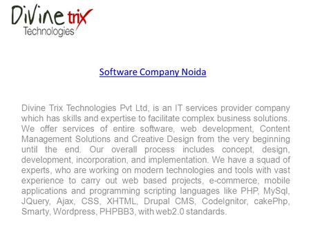 Software Company Noida Divine Trix Technologies Pvt Ltd, is an IT services provider company which has skills and expertise to facilitate complex business.