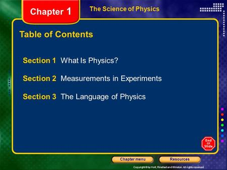 Copyright © by Holt, Rinehart and Winston. All rights reserved. ResourcesChapter menu The Science of Physics Chapter 1 Table of Contents Section 1 What.