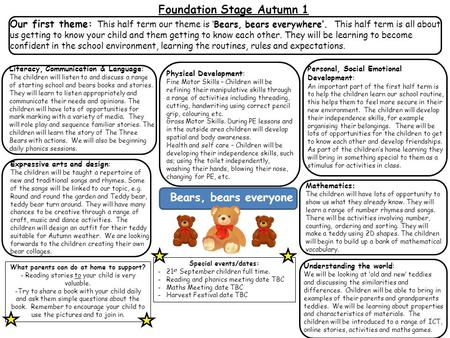 Foundation Stage Autumn 1 Literacy, Communication & Language: The children will listen to and discuss a range of starting school and bears books and stories.