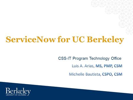 ServiceNow for UC Berkeley CSS-IT Program Technology Office.