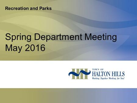 Recreation and Parks Spring Department Meeting May