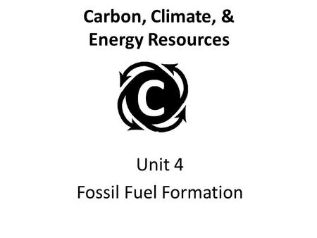Carbon, Climate, & Energy Resources Unit 4 Fossil Fuel Formation.