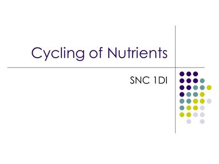 Cycling of Nutrients SNC 1DI. Cycling of Nutrients Except for the few asteroids that arrive on Earth from space, the amount of matter on Earth is always.