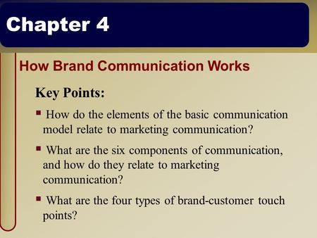 Chapter 4 How Brand Communication Works Key Points:  How do the elements of the basic communication model relate to marketing communication?  What are.
