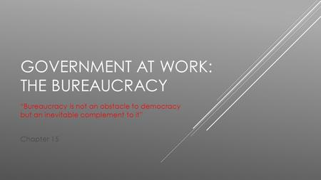 "GOVERNMENT AT WORK: THE BUREAUCRACY ""Bureaucracy is not an obstacle to democracy but an inevitable complement to it"" Chapter 15."