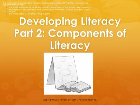 Developing Literacy Part 2: Components of Literacy Copyright © 2013 Pearson Education. All Rights Reserved. This multimedia product and its contents are.