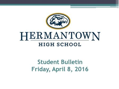 Student Bulletin Friday, April 8, French Bread Pizza Buffalo Chicken Wrap BBQ Rib Sandwich Shrimp poppers Friday Lunch Menu.