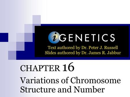 CHAPTER 16 Variations of Chromosome Structure and Number Text authored by Dr. Peter J. Russell Slides authored by Dr. James R. Jabbur.