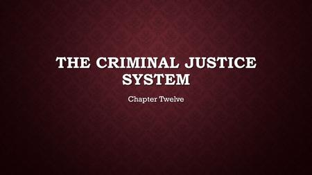 THE CRIMINAL JUSTICE SYSTEM Chapter Twelve. CATEGORIZING CRIME IN TEXAS Felony Serious crime punishable by prison and/or fine Serious crime punishable.