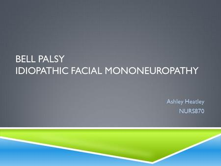 BELL PALSY IDIOPATHIC FACIAL MONONEUROPATHY Ashley Heatley NURS870.