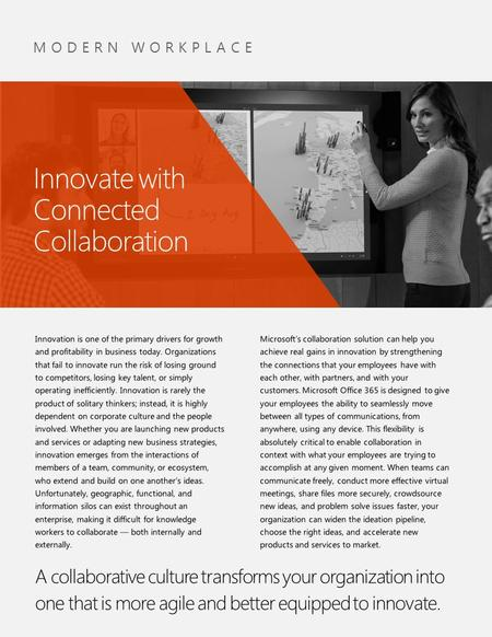 MODERN WORKPLACE Innovate with Connected Collaboration.