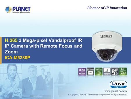 H Mega-pixel Vandalproof IR IP Camera with Remote Focus and Zoom ICA-M5380P.