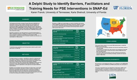 METHODS A Delphi Study to Identify Barriers, Facilitators and Training Needs for PSE Interventions in SNAP-Ed Karen Franck, University of Tennessee; Karla.