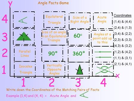 Equilateral Triangle Size of a Right Angle Acute Angle Size of an angle in an Equilateral Triangle 60 ° Angles at a point add up to this Parallel Lines.