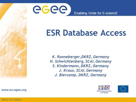 INFSO-RI Enabling Grids for E-sciencE  ESR Database Access K. Ronneberger,DKRZ, Germany H. Schwichtenberg, SCAI, Germany S. Kindermann,