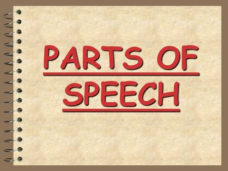 PARTS OF SPEECH Parts of Speech Each word in an English sentence has a special purpose. Some are: nouns verbs adjectives adverbs pronouns.