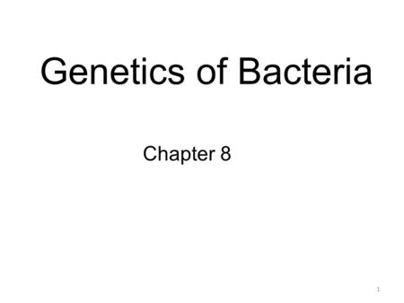 Genetics of Bacteria Chapter 8 1. Prokaryotes! Bacteria Bacteriophages Genome Plasmid 2.