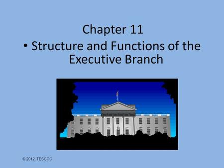 Chapter 11 Structure and Functions of the Executive Branch © 2012, TESCCC.