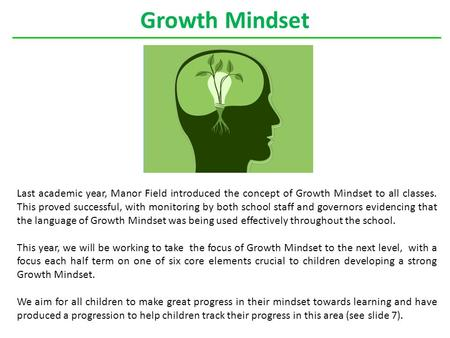 Growth Mindset Last academic year, Manor Field introduced the concept of Growth Mindset to all classes. This proved successful, with monitoring by both.