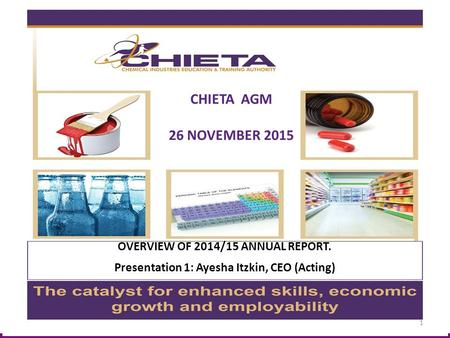 OVERVIEW OF 2014/15 ANNUAL REPORT. Presentation 1: Ayesha Itzkin, CEO (Acting) CHIETA AGM 26 NOVEMBER