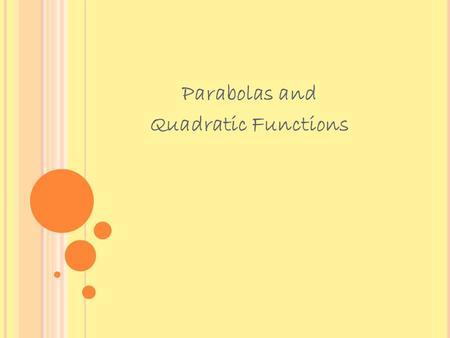 Parabolas and Quadratic Functions. The x coordinate of the vertex can be found using as well. This is the easier method for finding the vertex of.