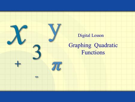 Graphing Quadratic Functions Digital Lesson. 2 Quadratic function Let a, b, and c be real numbers a  0. The function f (x) = ax 2 + bx + c is called.