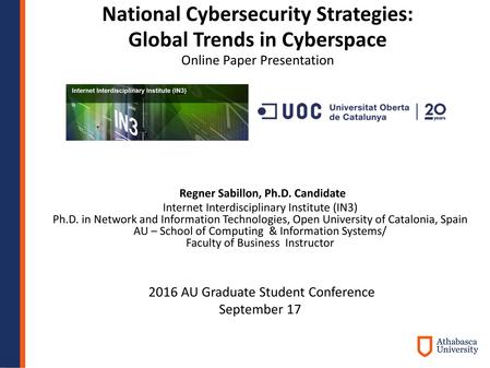 National Cybersecurity Strategies: Global Trends in Cyberspace Online Paper Presentation 2016 AU Graduate Student Conference September 17 Regner Sabillon,