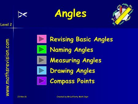 23-Nov-16Created by Mr.Lafferty Math Dept Revising Basic Angles Naming Angles  Measuring Angles Drawing Angles Compass Points Angles.
