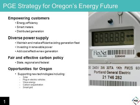 PGE Strategy for Oregon's Energy Future Empowering customers Energy efficiency Smart meters Distributed generation Diverse power supply Maintain and make.