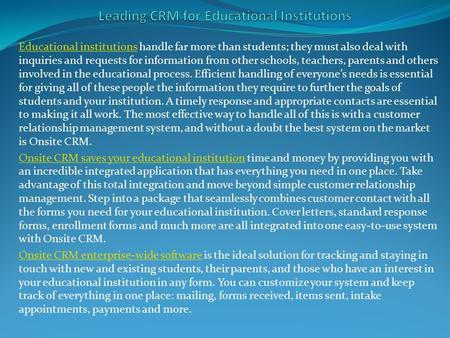 Leading CRM for Educational Institutions
