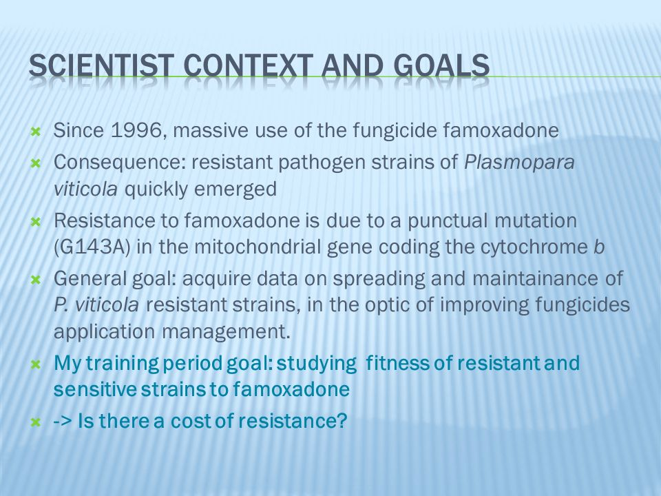 Goal: following the evolution of sensitive/resistant strains proportions during 8 cycles 5 couples R/S 3 initial mixes - 20%R 80%S - 50%R 50%S - 80%R 20%S Cycle 0Cycle 1 5 couples R/S 3 mixes - ?%R ?%S Reinoculation on leaves (1 week) FUNGICIDE SCREENING (1 week) Visual notation to estimate resistant and sensitive percentages QUANTITATIVE PCR To estimate resistant and sensitive percentages Cycle 8