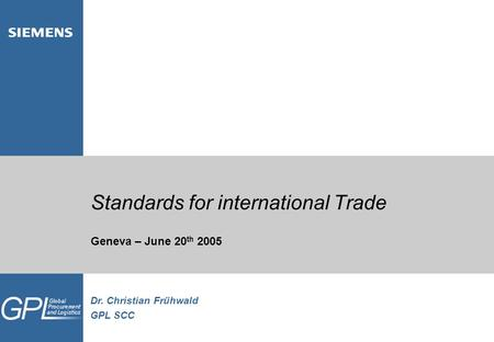 Standards for international Trade