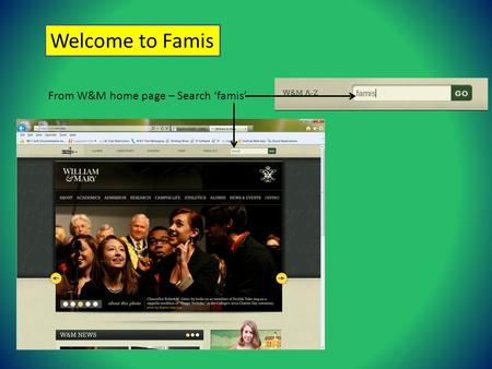 Welcome to Famis From W&M home page – Search famis.