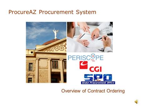 ProcureAZ Procurement System Overview of Contract Ordering.