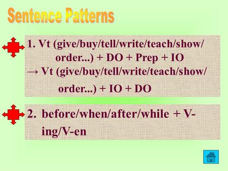 1. Vt (give/buy/tell/write/teach/show/ order...) + DO + Prep + IO Vt (give/buy/tell/write/teach/show/ order...) + IO + DO 2.before/when/after/while +