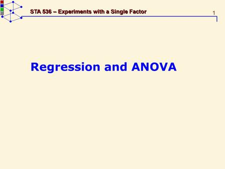 1 STA 536 – Experiments with a Single Factor Regression and ANOVA.