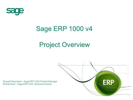Sage ERP 1000 v4 Project Overview