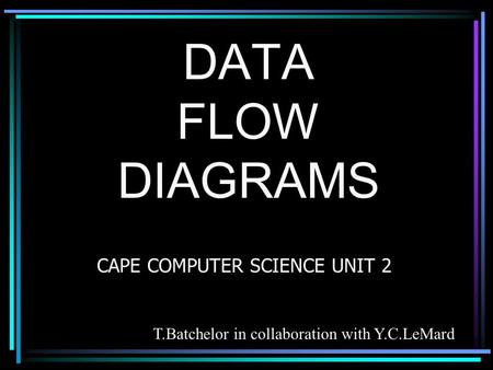DATA FLOW DIAGRAMS CAPE COMPUTER SCIENCE UNIT 2 T.Batchelor in collaboration with Y.C.LeMard.