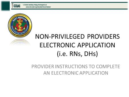 NON-PRIVILEGED PROVIDERS ELECTRONIC APPLICATION (i.e. RNs, DHs) PROVIDER INSTRUCTIONS TO COMPLETE AN ELECTRONIC APPLICATION.