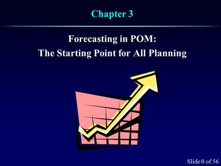 Slide 0 of 56 Chapter 3 Forecasting in POM: The Starting Point for All Planning.
