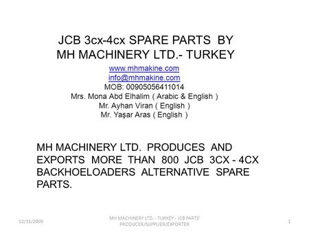 JCB 3cx-4cx SPARE PARTS BY MH MACHINERY LTD.- TURKEY