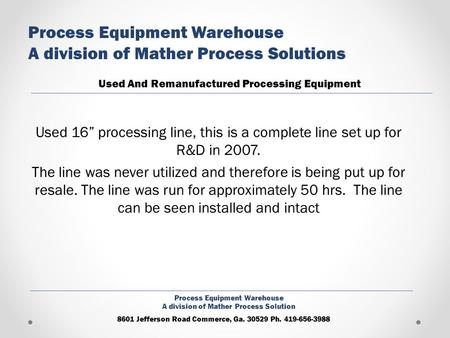 Process Equipment Warehouse A division of Mather Process Solutions