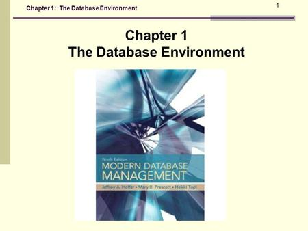 Chapter 1: The Database Environment 1 Chapter 1 The Database Environment.