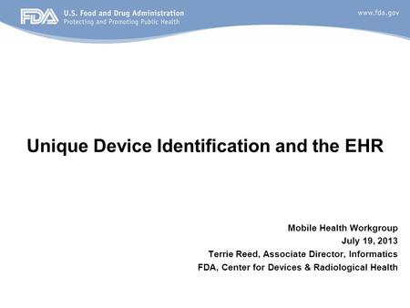 Unique Device Identification and the EHR