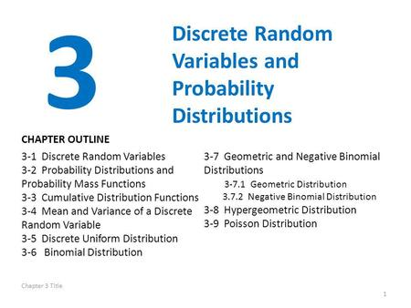 3 Discrete Random Variables and Probability Distributions