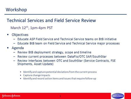 Workshop Technical Services and Field Service Review March 12 th, 1pm-4pm PST Objectives –Educate ASP Field Service and Technical Service teams on BtB.