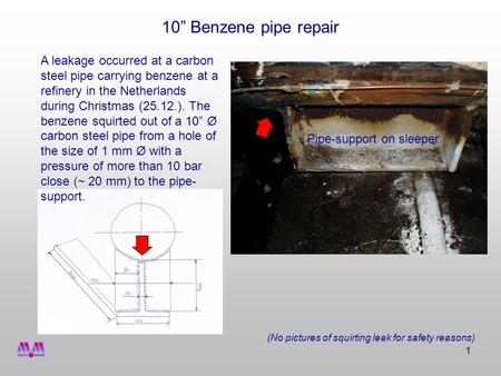 1 10 Benzene pipe repair A leakage occurred at a carbon steel pipe carrying benzene at a refinery in the Netherlands during Christmas (25.12.). The benzene.