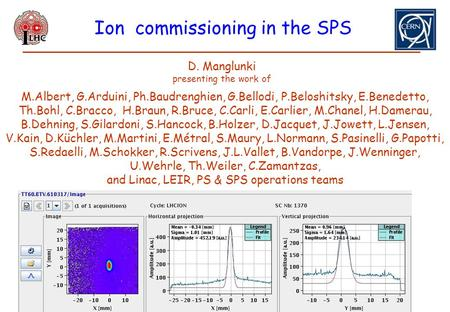 LHC Machine Advisory Committee, Dec 7 th, 07D. Manglunki1 Ion commissioning in the SPS D. Manglunki presenting the work of M.Albert, G.Arduini, Ph.Baudrenghien,