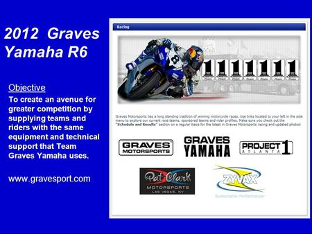 2012 Graves Yamaha R6 Objective To create an avenue for greater competition by supplying teams and riders with the same equipment and technical support.