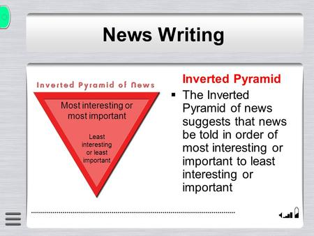 Inverted Pyramid The Inverted Pyramid of news suggests that news be told in order of most interesting or important to least interesting or important News.